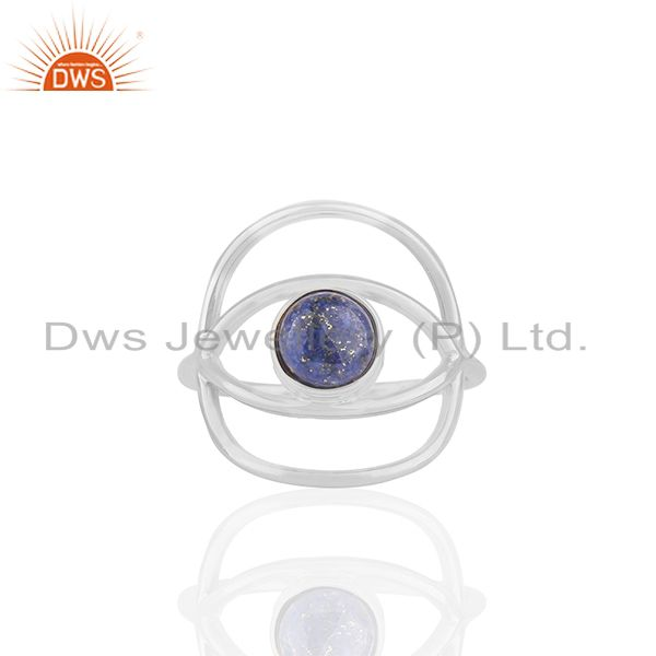 New Stylish Eye Design 925 Silver Lapis Blue Gemstone Ring Wholesale