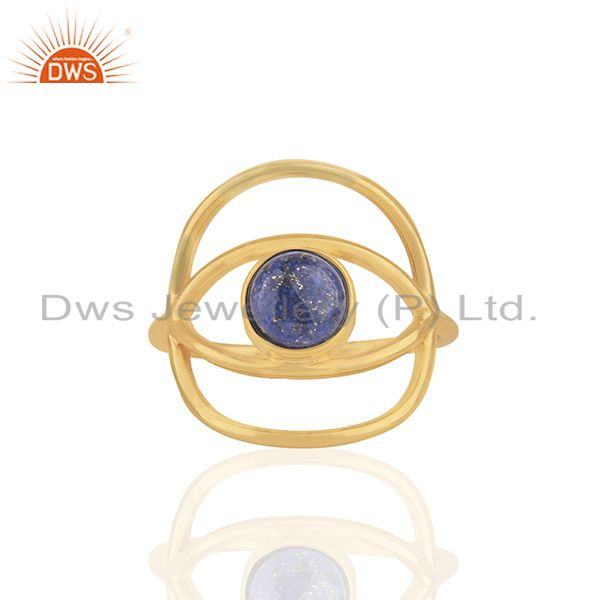New Designer Gold Plated 925 Silver Lapis Lazuli Gemstone Eye Ring