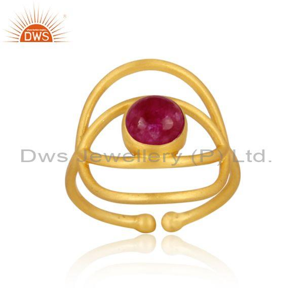 Dyed Ruby Set Gold On Sterling Silver Evil Eye Classic Ring