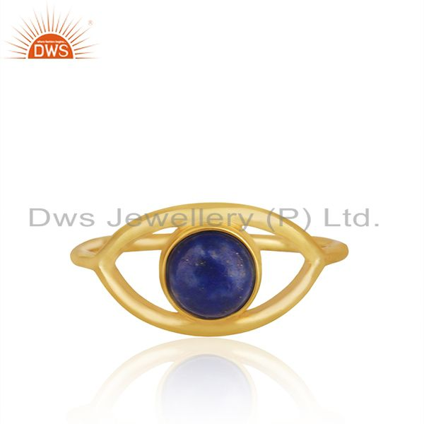 Handmade Evil Eye Design Gold Plated 925 Silver Lapis Gemstone Ring Wholesale