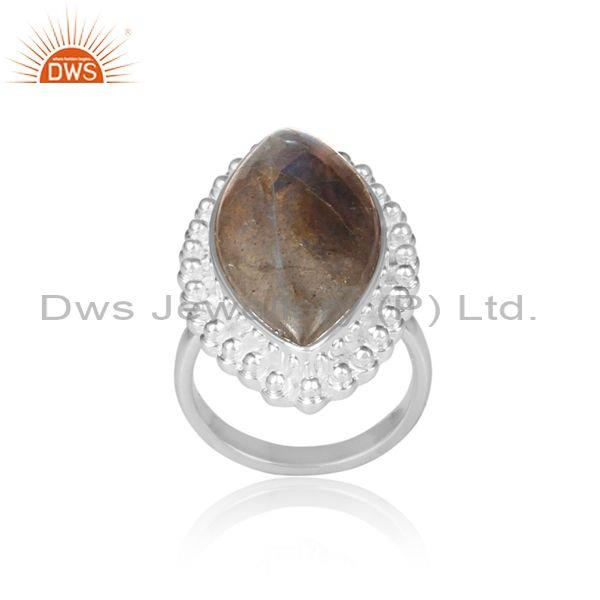 Oval Labradorite Set Fine Sterling Silver Traditional Ring