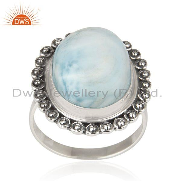 Natural Larimar Gemstone Oxidized Sterling Silver Statement Ring Manufacturer