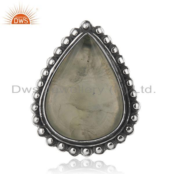 Wholesale Oxidized Sterling Silver Prehnite Gemstone Ring Jewelry