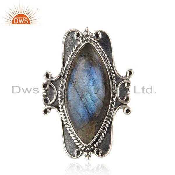Natural Labradorite Gemstone Oxidized Sterling Silver Designer Ring Manufacturer