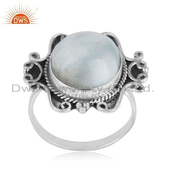 Larimar Gemstone Handcrafted 925 Sterling Silver Statement Ring Manufacturer