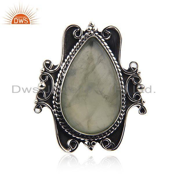 Black Oxidized Sterling Silver Prehnite Gemstone Ring Jewelry