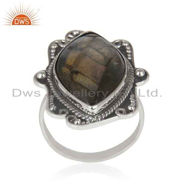 Labradorite Gemstone Oxidized Sterling Silver Statement Ring Manufacturer India