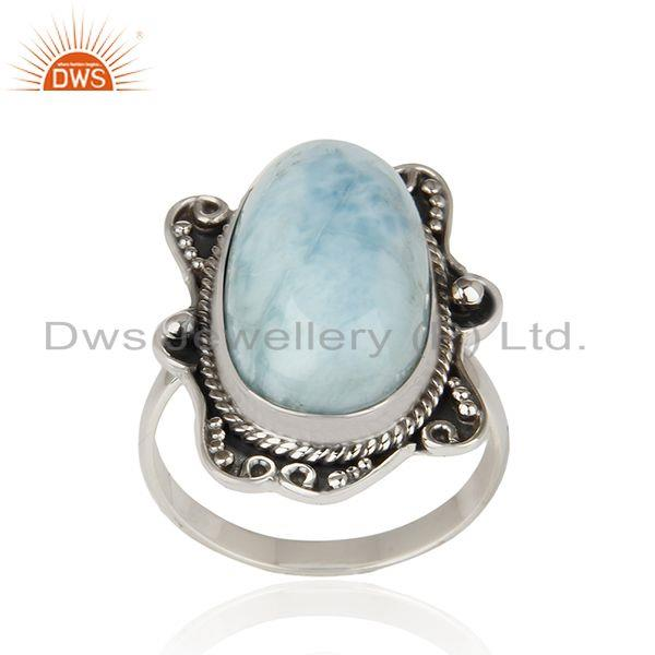 Larimar Gemstone Designer 925 Silver Oxidized Ring Manufacturer Jaipur India