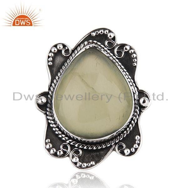 Black Oxidized 925 Silver Prehnite Gemstone Ring Jewelry