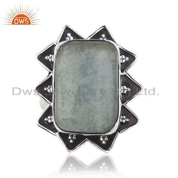 Indian Aquamarine Gemstone Wholesale Sterling Silver Oxidized Ring Jewelry