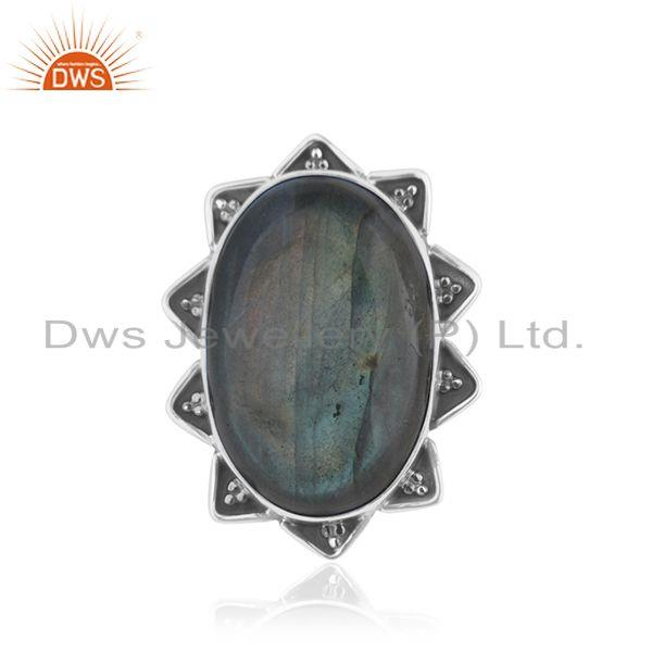 Labradorite Gemstone 925 Silver Genuine Ring Jewelry Manufacutrer INdia