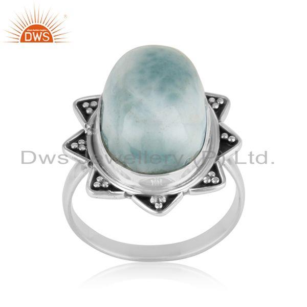 Larimar Gemstone Oxidized 92.5 Sterling Silver Statement Ring Manufacturer India