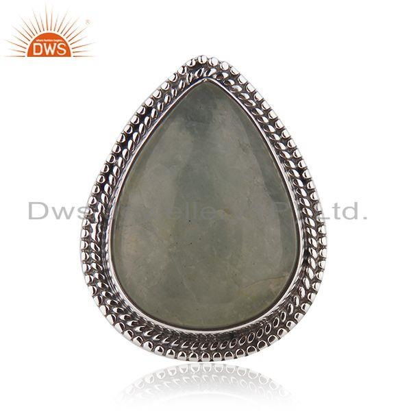 Aquamarine Gemstone Designer 925 Silver Oxidized Ring Jewelry