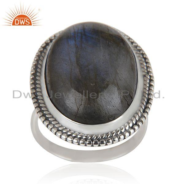 Labradorite Gemstone Oxidized Sterling 925 Silver Cocktail Ring Manufacturer
