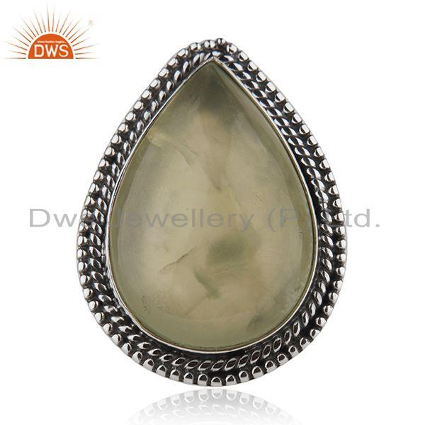 New Oxidized Sterling SIlver Prehnite Gemstone Ring Jewelry Supplier