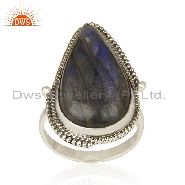 Labradorite Gemstone 925 Sterling Silver Oxidized Statement Ring Manufacture