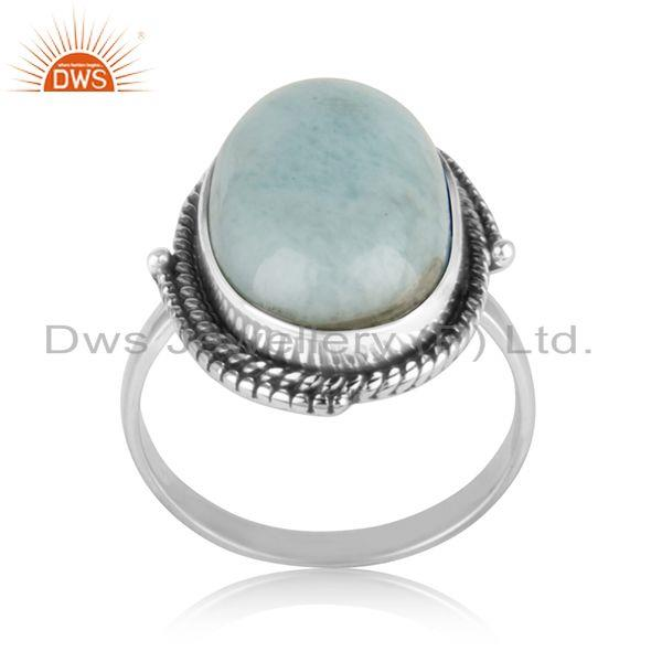 Natural Larimar Gemstone Oxidized 925 Sterling Silver Statement Ring Manufacture