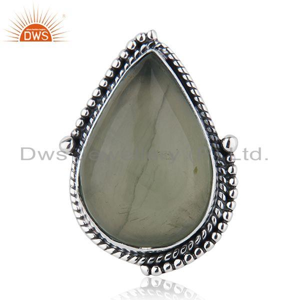 Designer Sterling Silver Oxidized Prehnite Gemstone Ring Jewelry
