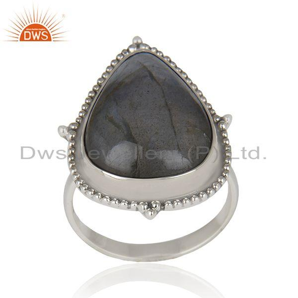 Labradorite Gemstone Oxidized 925 Sterling Silver Statement Ring Manufacturer