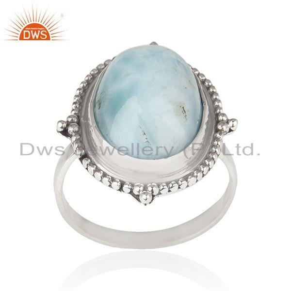 Larimar Gemstone Oxidized Sterling Silver Statement Ring Manufacturer