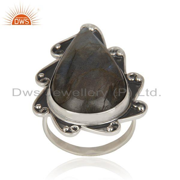Labradorite Gemstone Oxidized 92.5 Sterling Silver Statement Ring Manufacturer