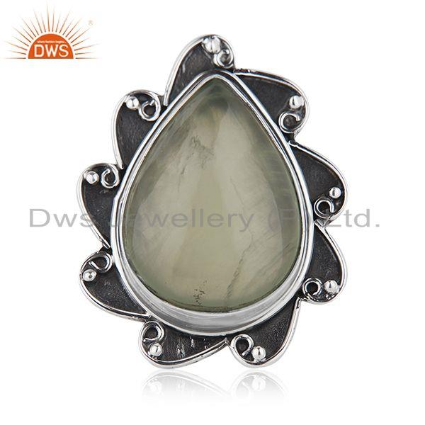 Floral Sterling Silver Oxidized Prehnite Ring Jewelry