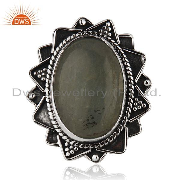 Manufacturer Oxidized Silver Aquamarine Gemstone Ring Jewelry