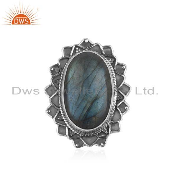 Labradorite Gemstone Oxidized 925 Silver Statement Ring Manufacturer India