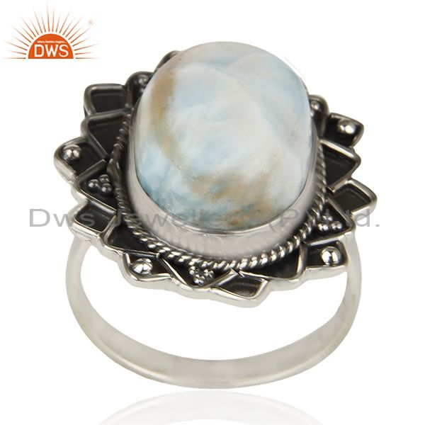 Larimar Gemstone 925 Sterling Silver Oxidized Ring Manufacturer India