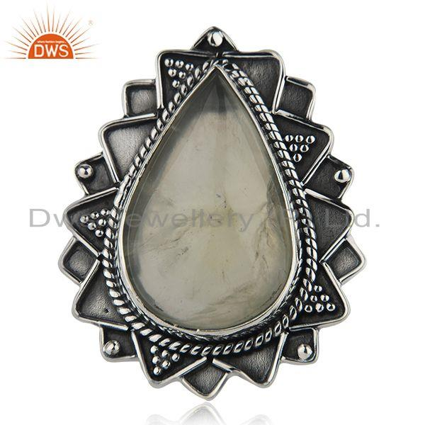 Designer Silver Oxidized Prehnite Gemstone Ring Jewelry