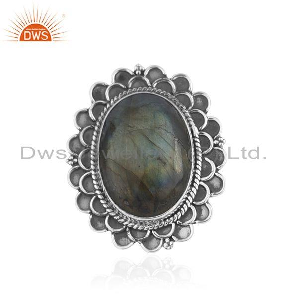 Designer Oxidized Sterling Silver Labradorite Gemstone Cocktail Ring Wholesaler