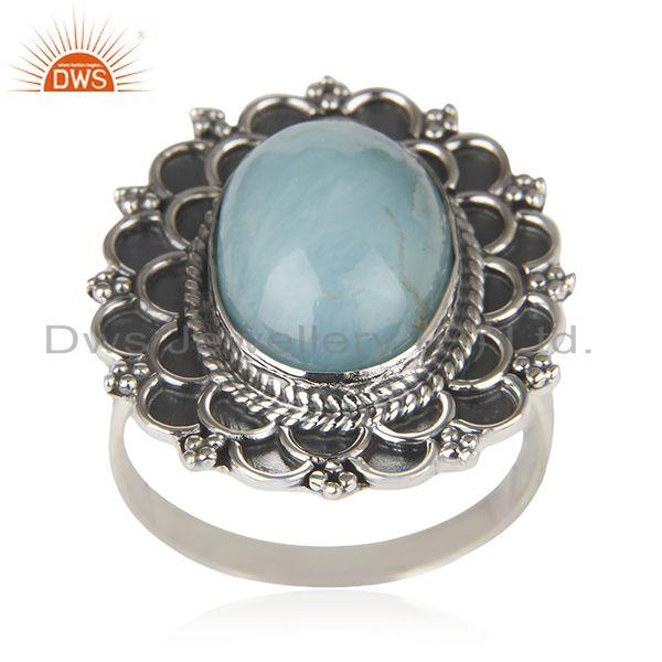 Oxidized 92.5 Sterling Silver Larimar Gemstone Cocktail Ring Manufacturer India