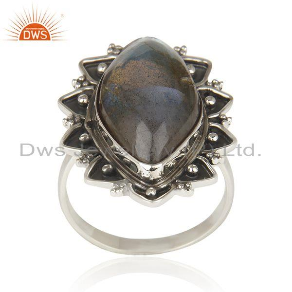 Labradorite Gemstone Sterling Oxidized 925 Silver Statement Ring Manufacturer