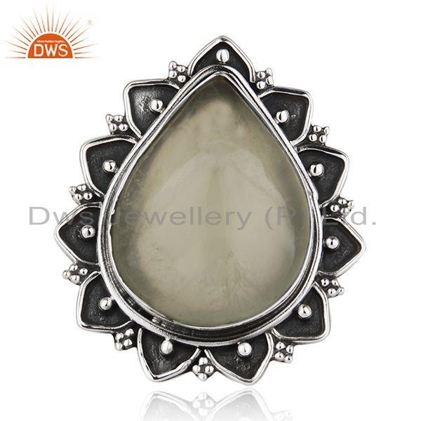 Designer Prehnite Gemstone Silver Oxidized Antique Ring Jewelry