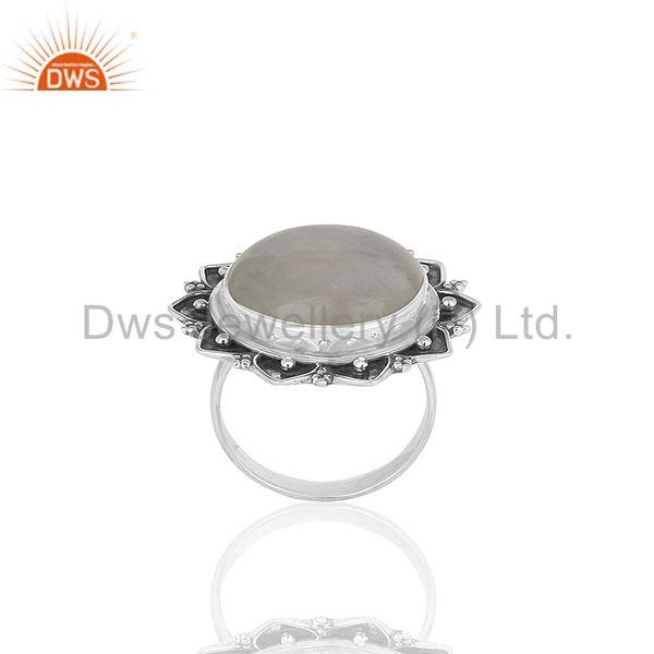 Designer 925 Silver Rainbow Moonstone Cocktail Customized Ring Manufacturer