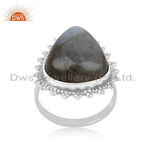 Labradorite Gemstone Sterling Silver Statement Ring Manufacturer Jaipur