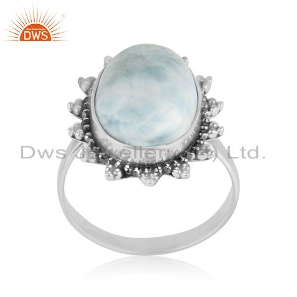Designer 925 Sterling Oxidized Silver Larimar Gemstone Cocktail Ring Manufacture