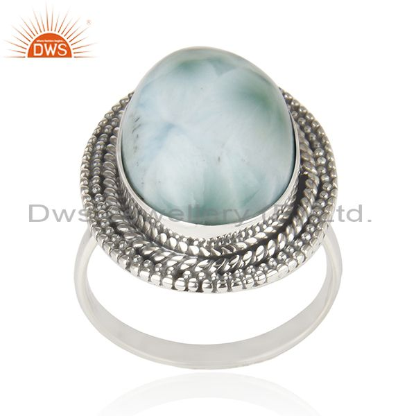 Larimar Gemstone 925 Sterling Silver Cocktail Ring Manufacturer Jaipur