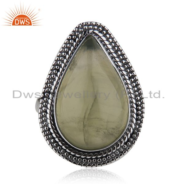 925 Sterling Silver Prehnite Gemstone Oxidized Vintage Ring Jewelry