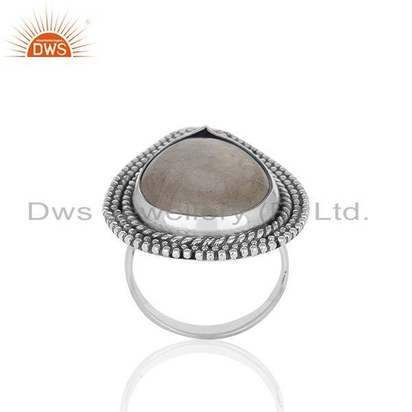 Oxidized Sterling Silver Rainbow Moonstone Statement Ring Manufacturer India