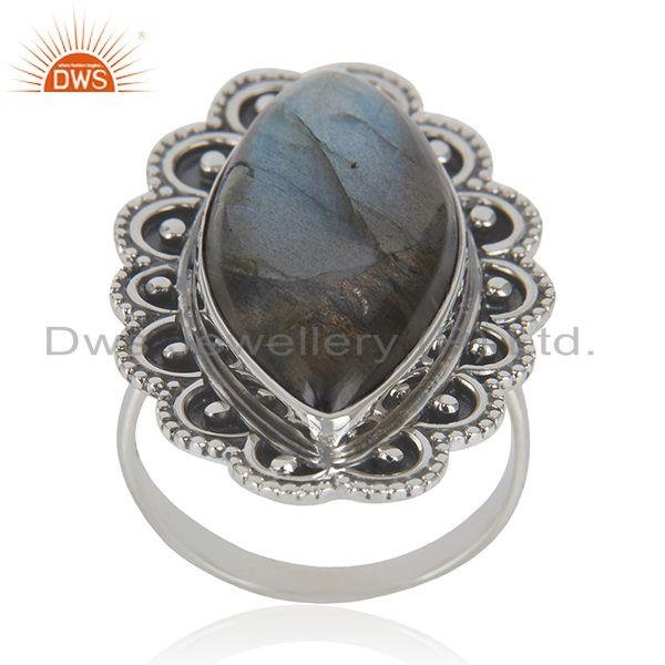 Natural Labradorite Gemstone 92.5 Oxidized Sterling Silver Handcrafted Rings