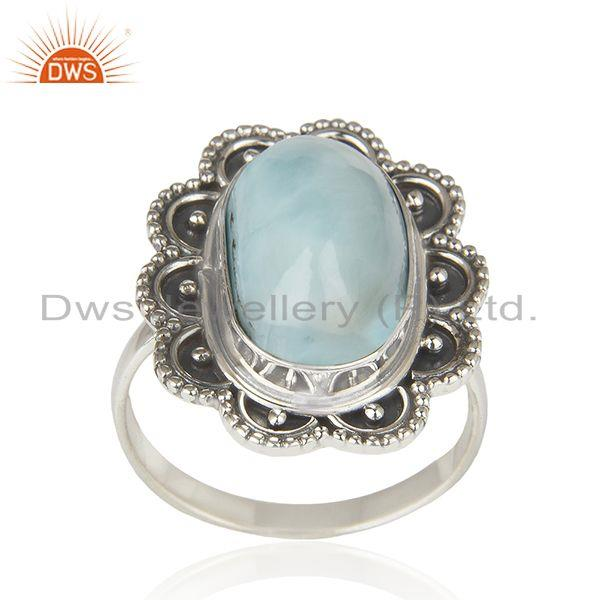 Larimar Gemstone 925 Sterling Silver Oxidized Designer Ring Manufacturer India