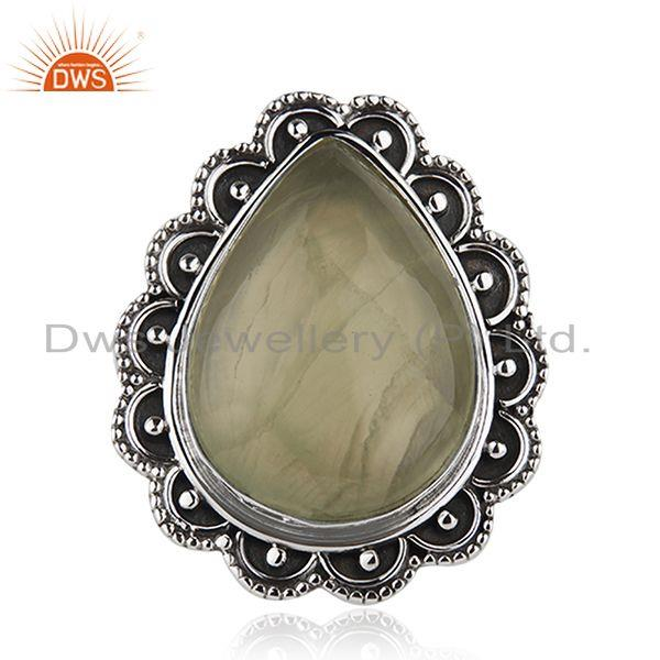Wholesale Prehnite Gemstone Oxidized Silver Ring Jewelry