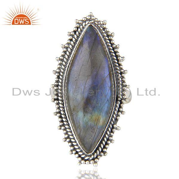 925 Sterling Silver Oxidized Labradorite Gemstone Statement Ring Manufacturer