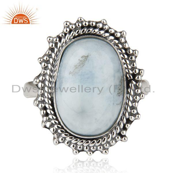 Larimar Gemstone 925 Sterling Silver Statement Ring Manufacturer Jaipur India