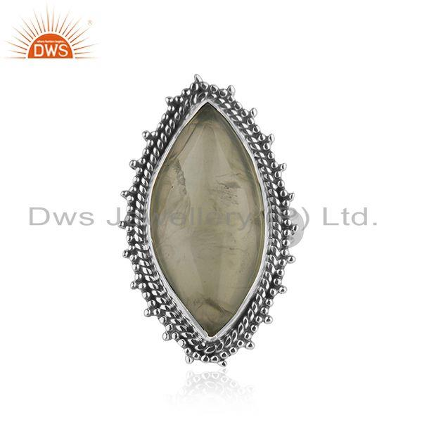 925 Silver Oxidized Prehnite Gemstone Ring Designer Jewelry