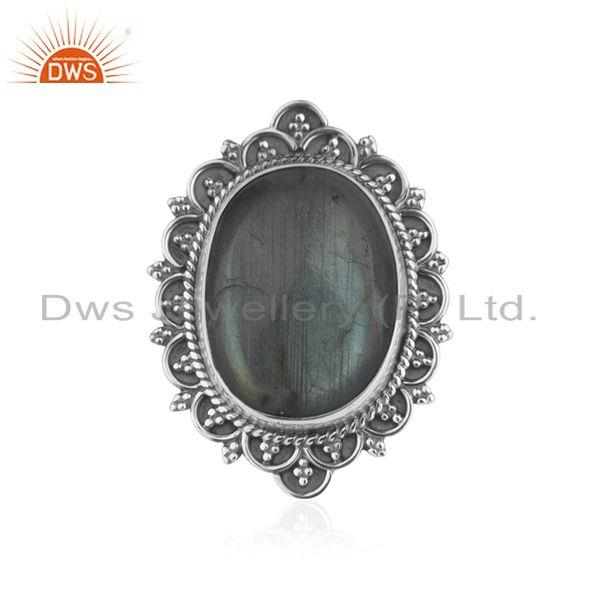 Handcrafted 925 Silver Antique Look Labradorite Gemstone Ring Manufacturer India