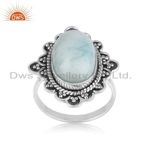 Handcrafted 925 Sterling Silver Larimar Gemstone Designer Ring Wholesaler Jaipur