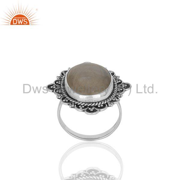 Wholesale 925 Silver Oxidized Rainbow Moonstone Girls Ring Jewelry Manufacturer