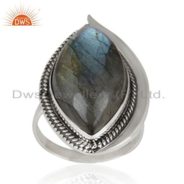 Labradorite Gemstone Oxidized 925 Sterling Silver Statement Ring Supplier India